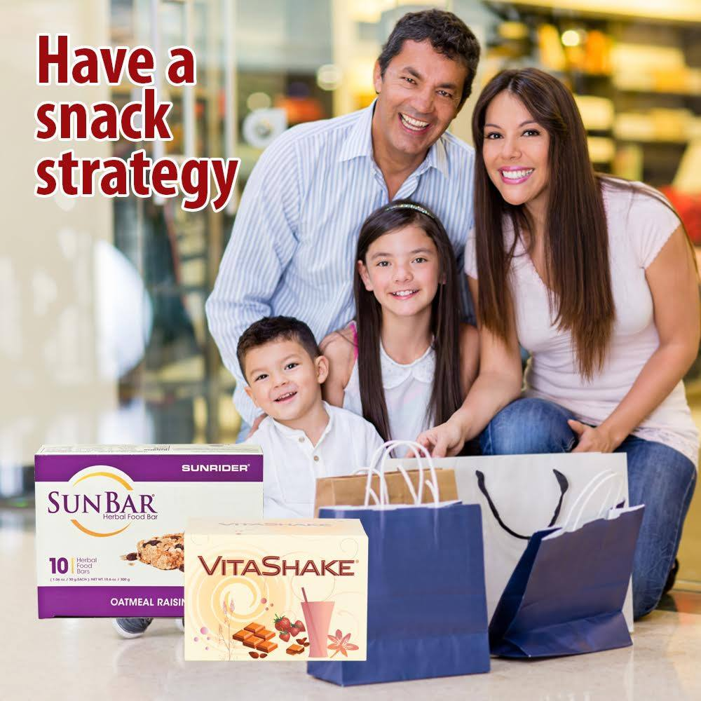 Have a snack strategy : Sunrider Unbars, Sunrider VitaShake are great snack foods, low in calories and tastes great!